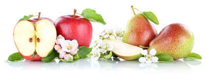 Apple and pear apples pears fruits isolated on white Royalty Free Stock Images