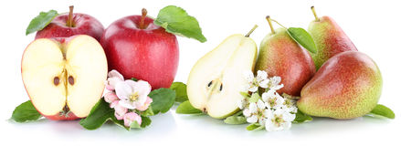 Apple and pear apples pears red fruits slice isolated Stock Photo