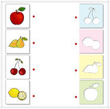Apple, pear, cherry and lemon. Educational game for kids Royalty Free Stock Photos
