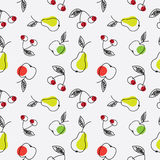 Apple, pear and cherry seamless pattern. Fruits seamless texture. Abstract sketch of an apple, pear and cherry Royalty Free Stock Image