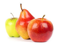Apple and pear closeup Royalty Free Stock Images