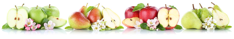Apple and pear collection apples pears fruit sliced fruits isolated on white stock photos
