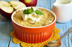 Apple and pear crumble. Stock Photo
