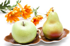 Apple and pear with flowers Royalty Free Stock Images