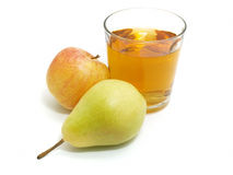 Apple and pear with a glass of juice Stock Photo