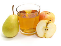 Apple and pear with a glass of juice Stock Image
