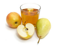 Apple and pear with a glass of juice Stock Photos