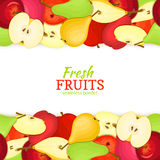 Apple pear horizontal seamless border Royalty Free Stock Photos