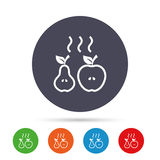 Apple and pear icon. Baked hot fruits symbol. Stock Photo