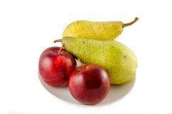Apple and pear isolated Royalty Free Stock Photo