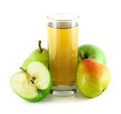 Apple and pear juice with apples and pears. Isolated on white background Royalty Free Stock Image
