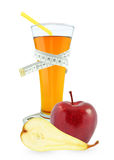 Apple-pear juice. In glass and meter on a white background Stock Photos