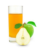 Apple-pear juice. In glass and meter on a white background Royalty Free Stock Images