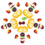 Apple pear lemon cherry Fruits circle frame composition Royalty Free Stock Image