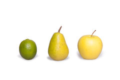 Apple, pear and lemon. Fruite on white background. Royalty Free Stock Photos