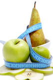 Apple pear with measuring Stock Images