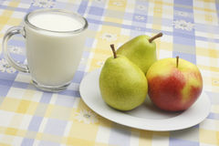 Apple,pear and milk Royalty Free Stock Photo