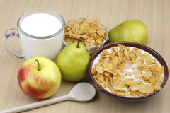 Apple,pear ,milk and cornflakes Royalty Free Stock Image