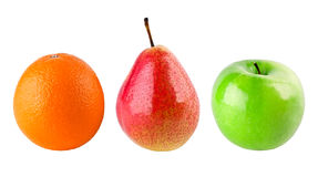 Apple, pear and orange. On white background royalty free stock images