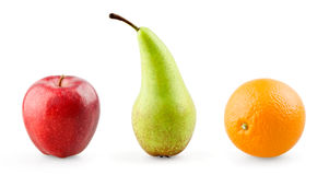 Apple, pear and orange. On white background royalty free stock photos