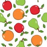 Apple Pear Orange Seamless Pattern Stock Photos