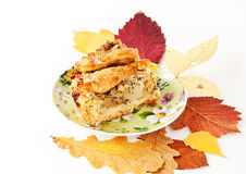 Apple and pear pie with autumn leaves Stock Images