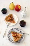 Apple and pear pie with tea. On the white background Stock Photo