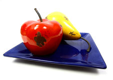 Apple and Pear on Plate Alone Stock Photography