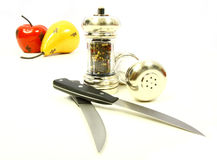 Apple and Pear with Salt Pepper Stock Images