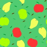 Apple and pear seamless pattern stock illustration