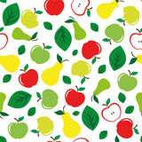 Apple and pear seamless pattern white background Stock Photography