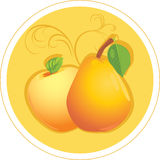 Apple and pear. Sticker. Illustration Royalty Free Stock Photo