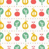 Apple pear tree seamless vector pattern background. Hand drawn paper cut out stripes. Matisse style. Fruit garden folk art all. Over print. Kids fashion textile vector illustration
