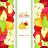 Apple pear vertical seamless border Stock Photo