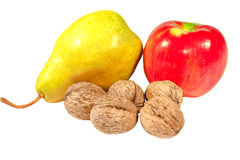 Apple pear and walnuts Stock Image