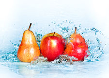 Apple, pear and water Stock Photo