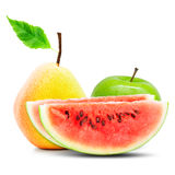 Apple, pear and watermelon Stock Photo
