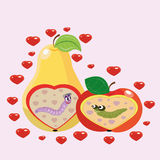 Apple and pear and worms. Stock Photography