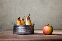 Apple and Pears. Still Life with Apple and Pears in metal Bowl Royalty Free Stock Images