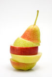 Apple and pears. Apple an pears stacked on white background Royalty Free Stock Photography