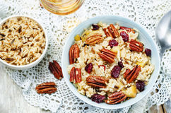 Apple Pecan dried cranberries and brown wild rice. Toning. selective focus Stock Images