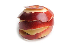 Apple with peel Royalty Free Stock Images