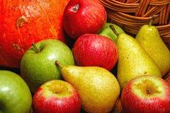 Apple, peer, pompoen Royalty-vrije Stock Foto