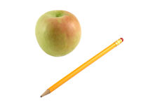 Apple and pencil Royalty Free Stock Images