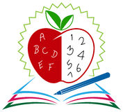 Apple and pencil on the book Royalty Free Stock Photo