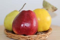 Apple, pera y membrillo en una placa de la paja fotos de archivo libres de regalías