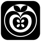 Apple pictogram black and white Royalty Free Stock Photography