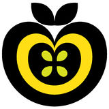 Apple pictogram black and yellow Stock Photo