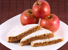 Apple Pie. Arrangement of apple pie with apples Royalty Free Stock Photo