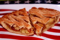 Apple Pie. Two slices of fresh apple pie on 4th of July flag Stock Photos
